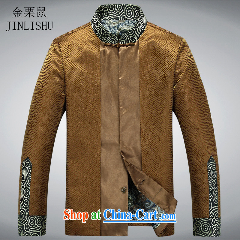 golden poppy mouse New Men's shawl Tang replacing the collar long-sleeved T-shirt clothing China wind Tang with long-sleeved jacket and heavy gold XXXL