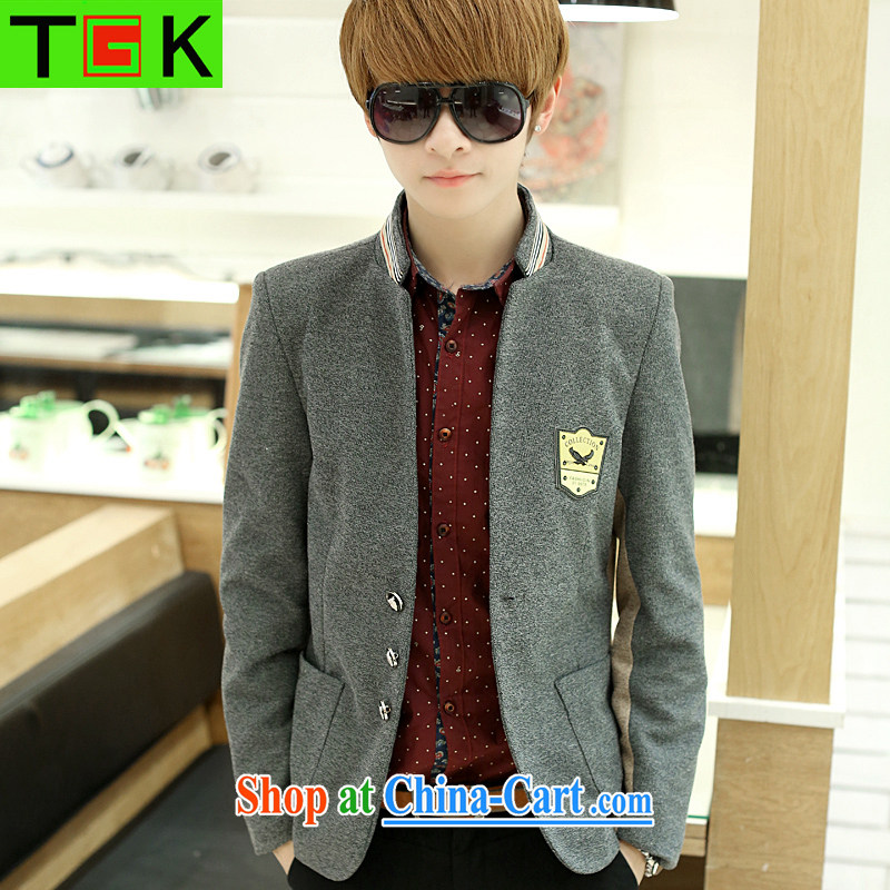 TGK New Men Generalissimo Leisure Suit youth small suit Male Korean beauty-spring jacket and smock gray XL