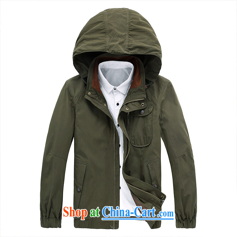 Solid color cap wind jacket men's leisure washable multi-pocket, jacket 583 army green 4 XL