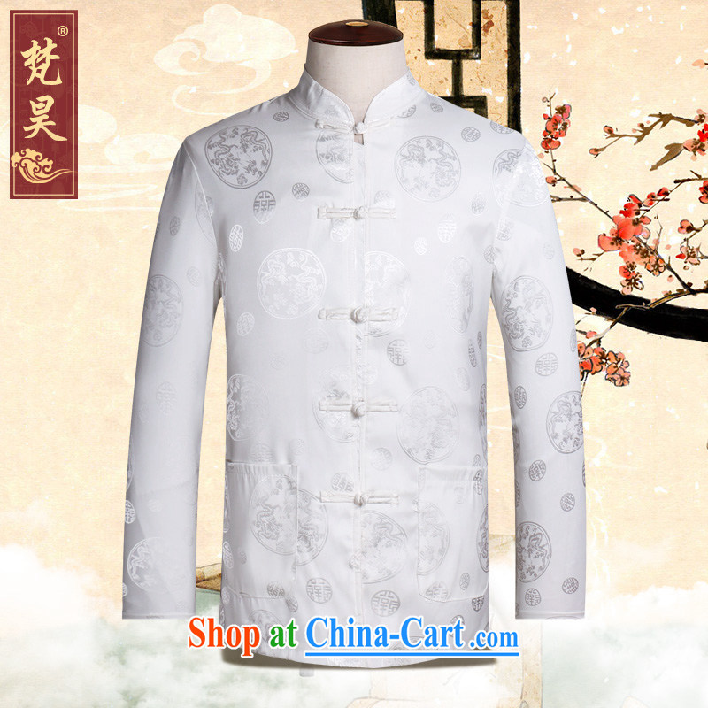 Van Gogh's new Chinese men's long-sleeved Old Silk shirt spring loaded CS 502 white XL