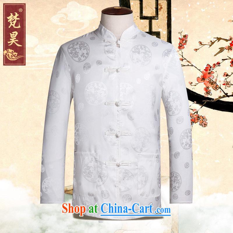 Van Gogh's new Chinese men's long-sleeved Old Silk shirt spring loaded CS 502 white XL