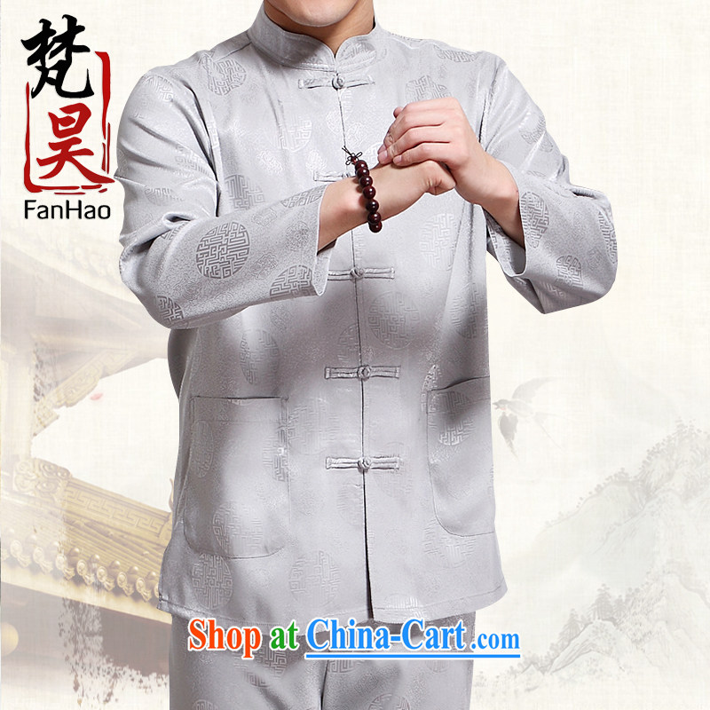 Van Gogh's new Chinese men's long-sleeved spring and replace the old silk shirts men's China wind father loaded Kung Fu shirt CS 503 gray L
