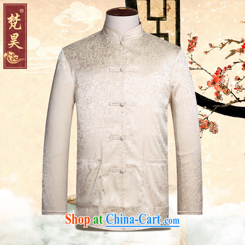 Van Gogh's new Chinese men's long-sleeved spring and replace the old Han-ethnic-Chinese shirt collar, kung fu shirt CS 508 yellow L