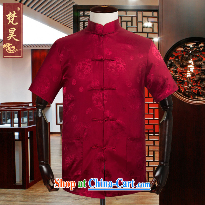 Van Gogh's new Chinese men's short-sleeved large number, Old Silk shirt summer half sleeve, served 302 DS red 3XL