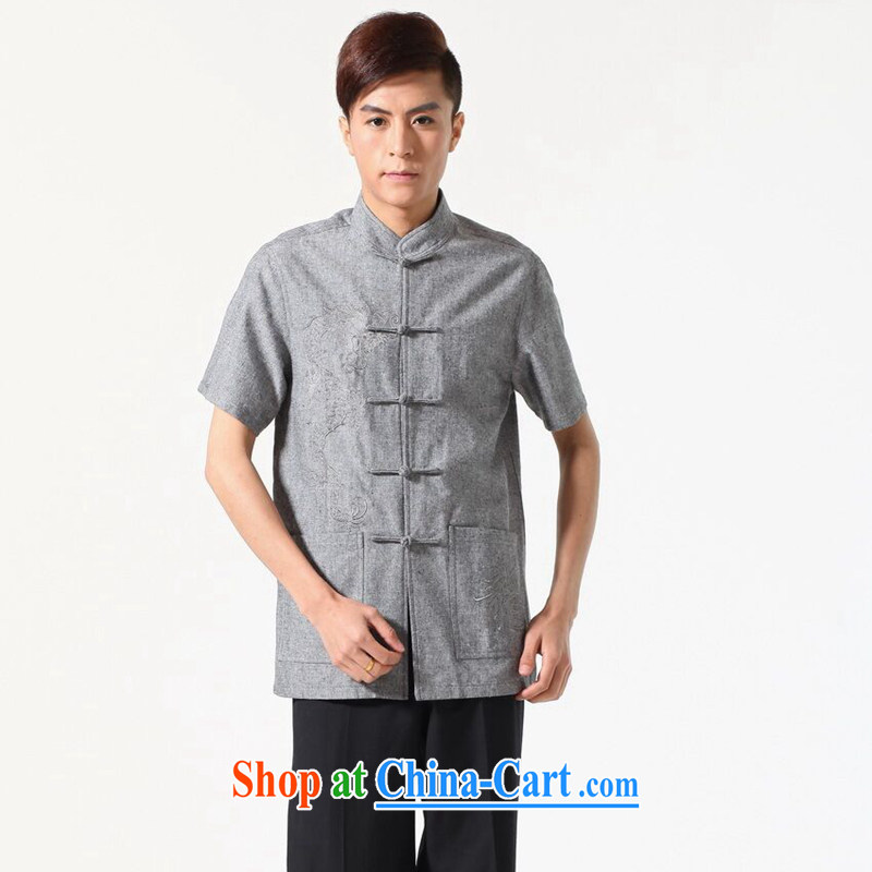 Dan smoke summer New Men's short-sleeved Chinese Chinese, for the cotton shirt embroidery, solid-colored breathable original male Tang - A dark 3XL