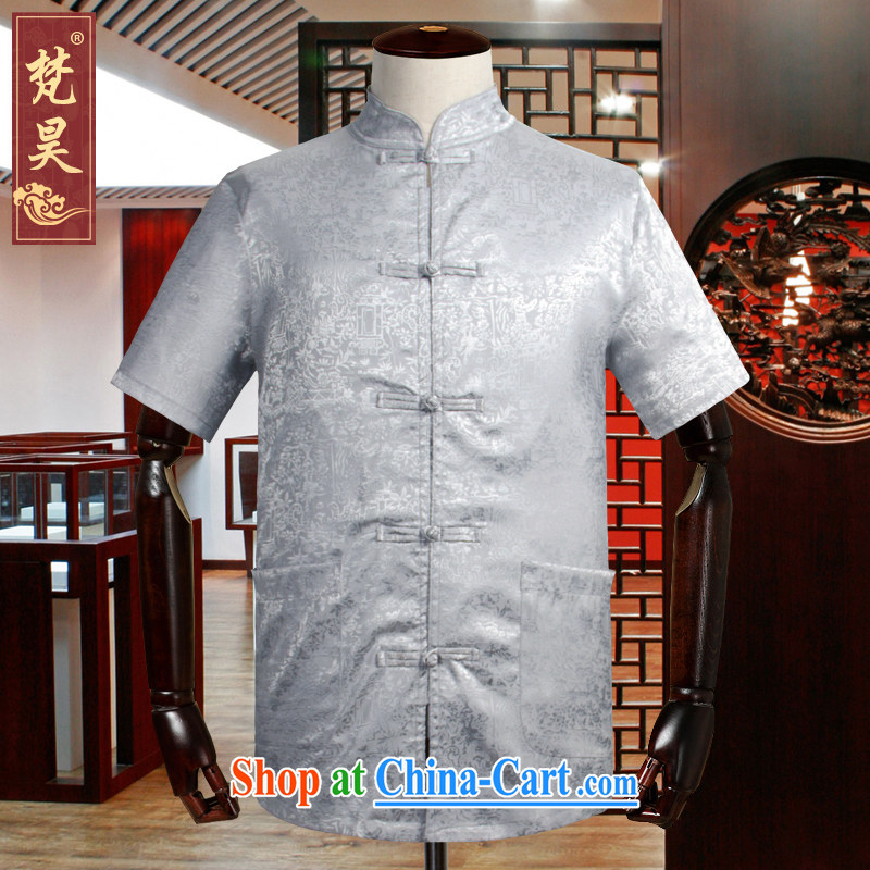 Van Gogh's annual summer Chinese men and a short-sleeved, Old Silk shirt Dad loaded the code Solid shirt DS 508 gray 3 XL