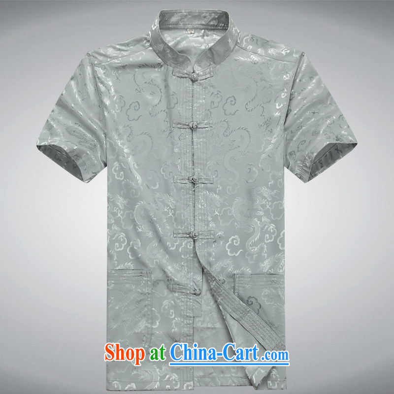 Of the more than 2015 men with short T-shirt with short sleeves, older Tang service men and summer short-sleeved Chinese male half sleeve shirt XL gray Kit 185