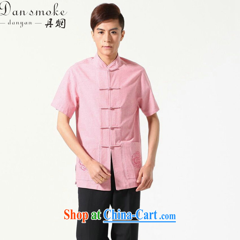 Dan smoke original male Chinese summer, new Chinese clothing, cotton for the comfortable and relaxing, with short T-shirt picture color L