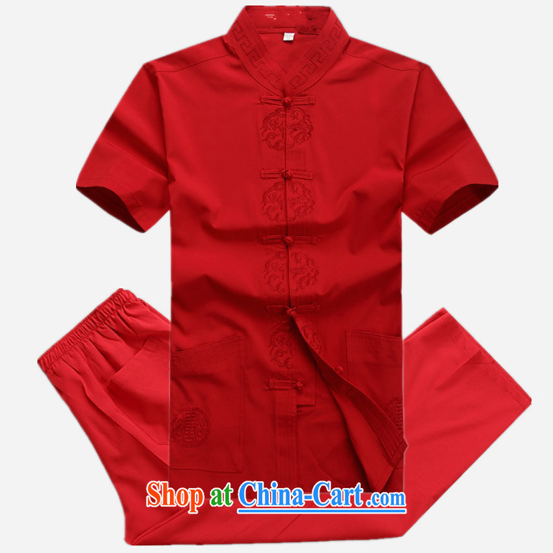 Of the more than 2015 Chinese men and a short-sleeved silk shirt, silk, older men Tang is set loose, served Red Kit 180