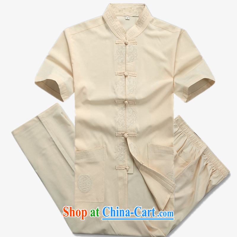 The people more than the Chinese men's short sleeve installed in 2015 older men Tang load package summer leisure shirt older Tang with beige Kit 185