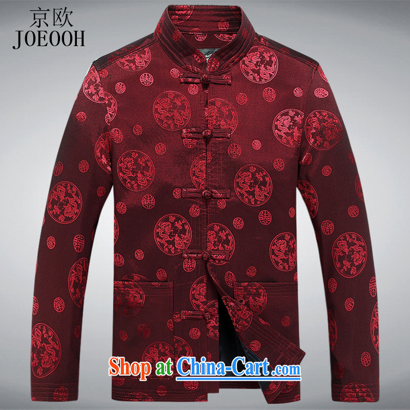 Putin's European men's Chinese jacket spring New Tang in older Chinese men and the Kowloon older long-sleeved Tang jackets red XXXL