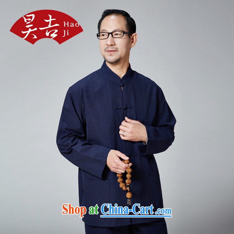 Hao, middle-aged and older men and new Chinese spring and summer cotton long-sleeved-buckle up for Chinese China wind father Father is blue 180