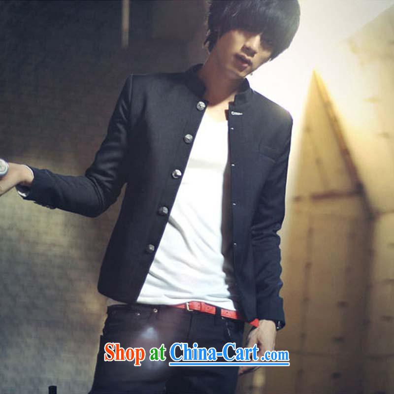 UYUK 2015 spring and summer new male blood smock College suit Korean Beauty Sun Yat-sen suit thin black M