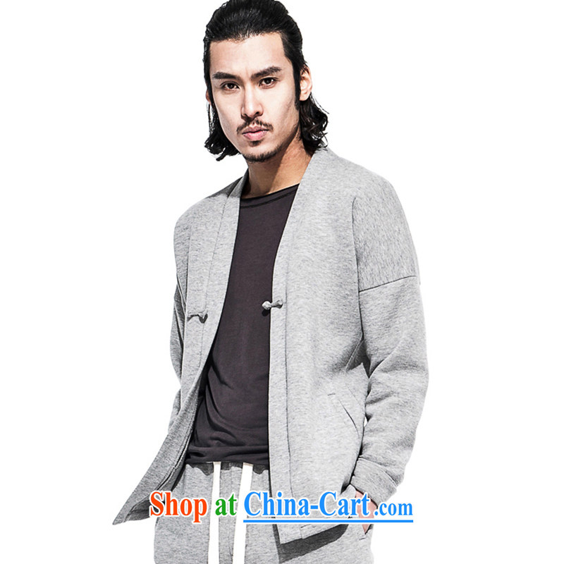 Fujing Qipai Tang China wind Air layer men improved the service-charge-back Chinese jacket Sports & Leisure Chinese T-shirt retro?light gray XL
