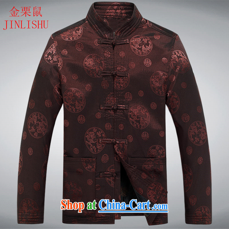 The chestnut mouse spring new China Tang is a collar long-sleeved T-shirt Tang jackets multi-colored coffee-colored XXXL