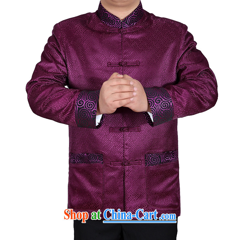Spring loaded new and Mobile Phone Line men's Chinese long-sleeved Chinese ceremony clothing jacket China wind APEC clothing F 88,021 noble purple M