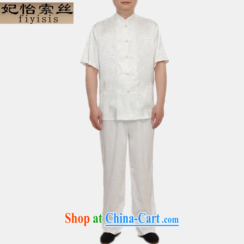 Princess Selina CHOW in men's Chinese package summer thin China wind-charge-back Blue middle-aged and older men's short-sleeved Tang replace Kit Dad T-shirt with the River During the Qingming Festival m White 180
