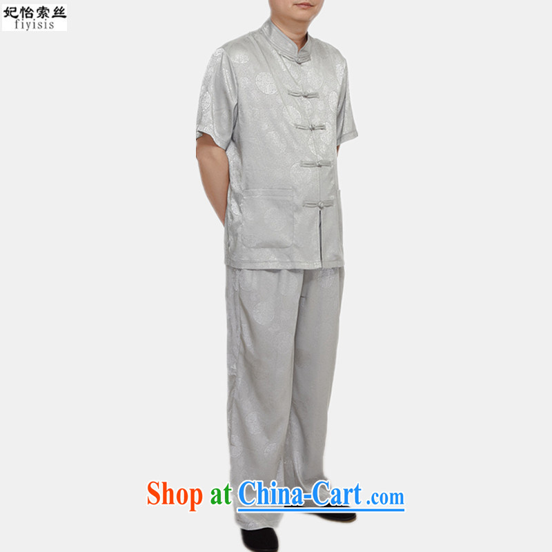 Princess Selina CHOW in Chinese package summer thin China wind-buckle old men short-sleeve Tang package installed with Grandpa blue loose version half sleeve Tang with silver 170