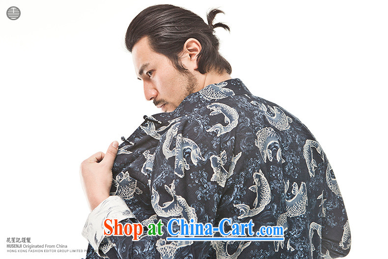 Take Your Excellency's wind cotton big fish Chinese men's Chinese Ethnic Wind leisure-wear clothing and retro jacket dark blue (M) pictures, price, brand platters! Elections are good character, the national distribution, so why buy now enjoy more preferential! Health