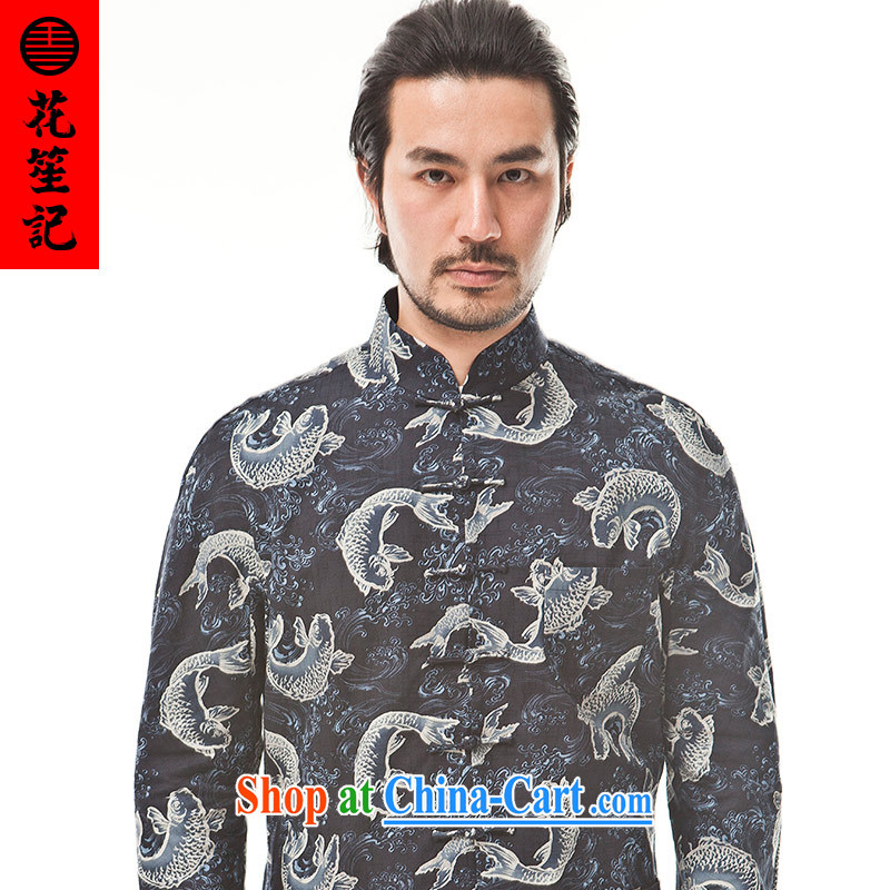 His Excellency took note China wind cotton big fish Chinese men's Chinese Ethnic Wind leisure-wear clothing retro jacket dark blue (M)