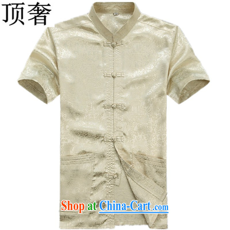 Top Luxury spring and summer thin men's Chinese New male, short-sleeved sauna silk men's T-shirt Dad Grandpa installed China wind national the river during the Qingming Festival elegant M S/165
