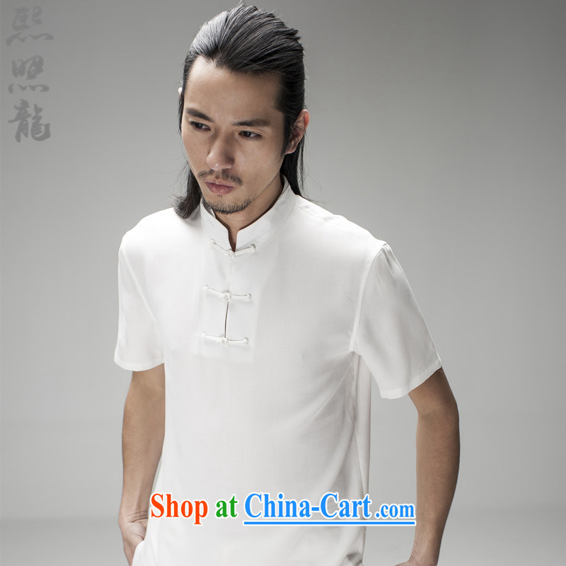 Hee-snapshot, Dragon, jacquard men's short-sleeved cold Tang with pendent-tie China wind fashion, short-sleeved T-shirt white XL