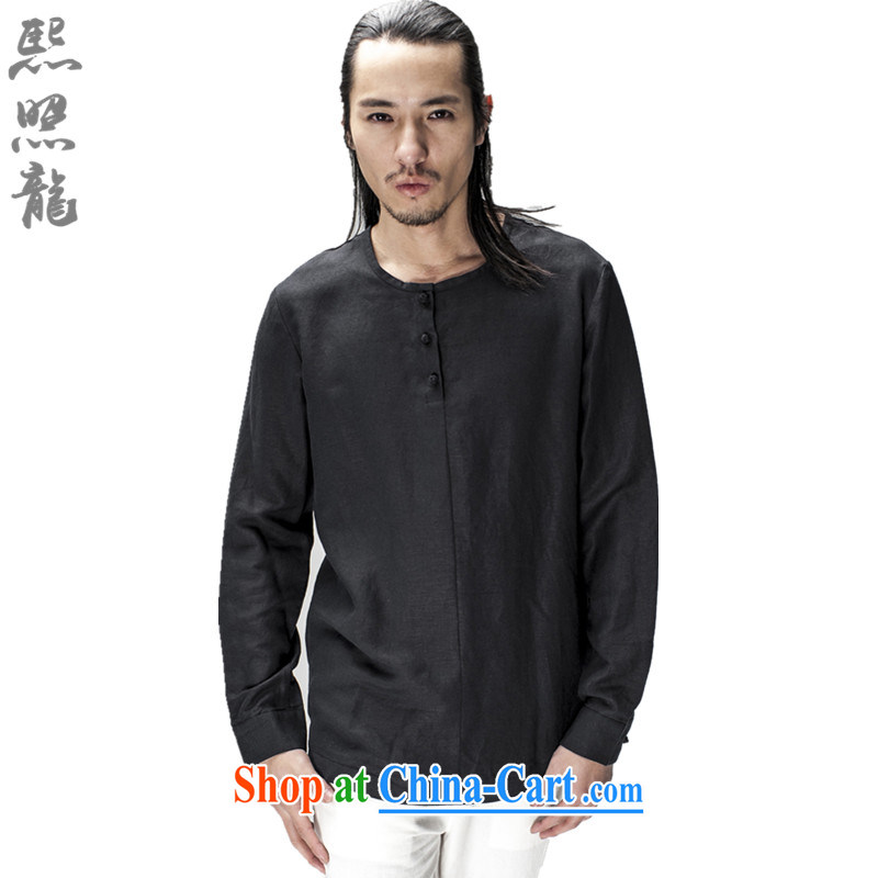 Hee-snapshot Dragon original innovative Chinese long-sleeved and no collar shirt men's lax ramie blended thin drape shirt black XL