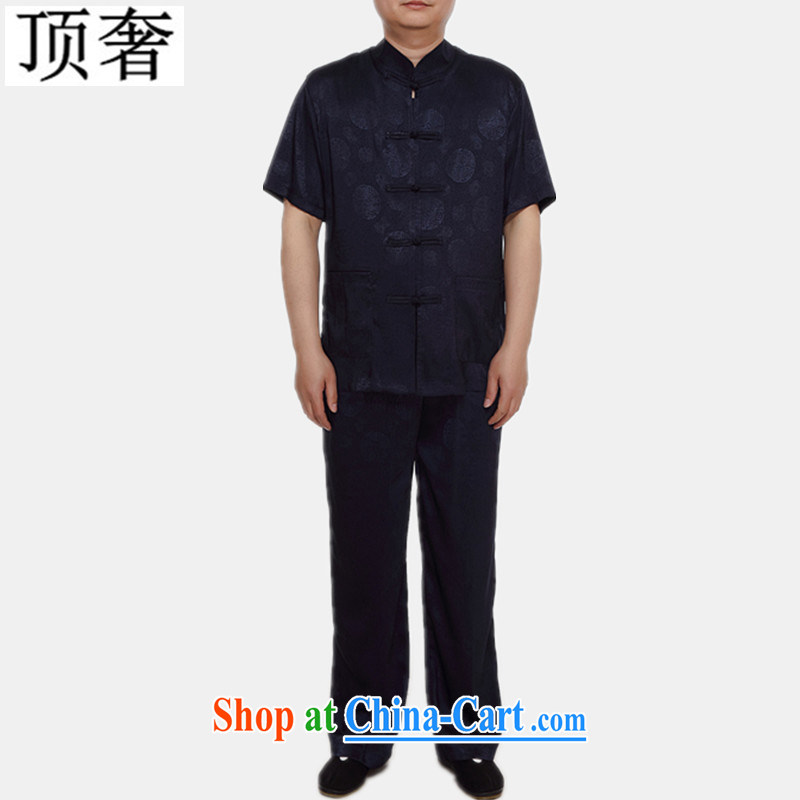 Top Luxury 2015 new men and Chinese national costume, older men with short set short-sleeve men's T-shirt pants silver gray summer silk Chinese Han-dark blue Kit XL/170