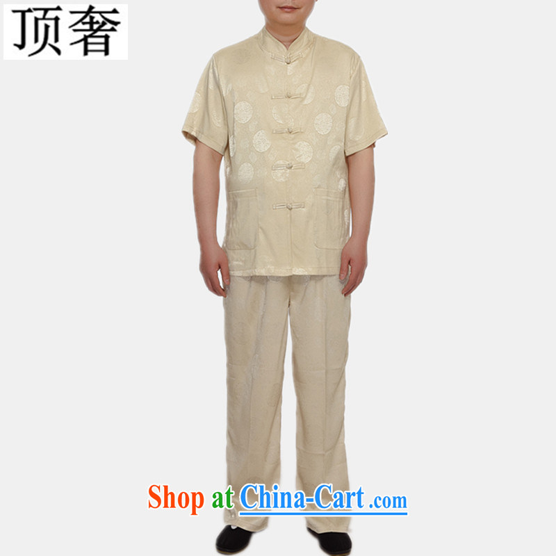 Top Luxury summer new Chinese men's short sleeve installed in the older persons, served Chinese style men's short-sleeve kit 2015 thin China wind kit M yellow Kit 4 XL/185