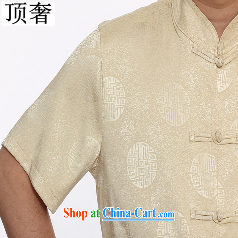 Top Luxury summer new Chinese men's short sleeve installed in the older persons, served Chinese style men's short-sleeve kit 2015 thin China wind kit M yellow Kit 4 XL/185, with the top luxury, shopping on the Internet
