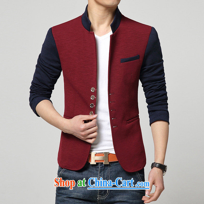 Spring JCH new design stitching men's and smock for the Korean version cultivating Chinese small suits men's Business and Leisure Suit smock red 165 (M)