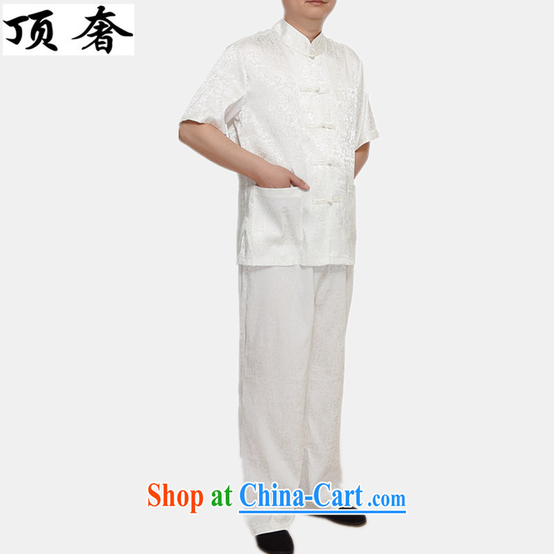 Top luxury Chinese men and a short-sleeved, older and Han-kit men short-sleeved Chinese package National wind Chinese T-shirt M thin yellow, short-sleeved white Kit 4 XL/185