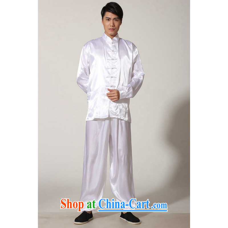 Bin Laden smoke men's new Chinese Chinese improved and satins for Tai Chi uniforms solid-colored ends of Kung Fu shirt long-sleeved Kit white XXL