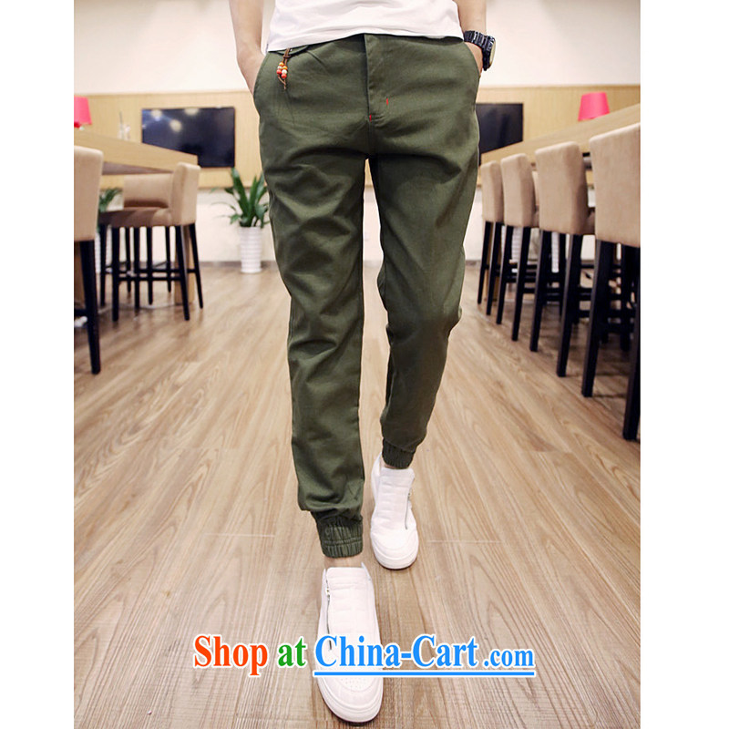 2015 spring New Date of harness pin pants male and licensing Korean beauty, trouser press and spring pants castor pants army green XXL