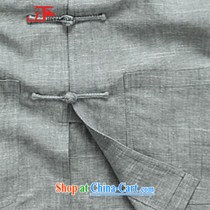 Jack And Jacob - Wolf JIEYA - WOLF 15 Chinese men's short-sleeve kit advanced in Yau Ma Tei cotton summer, male Chinese China wind set with linen, light gray a the manual for 170/M, JIEYA - WOLF, shopping on the Internet