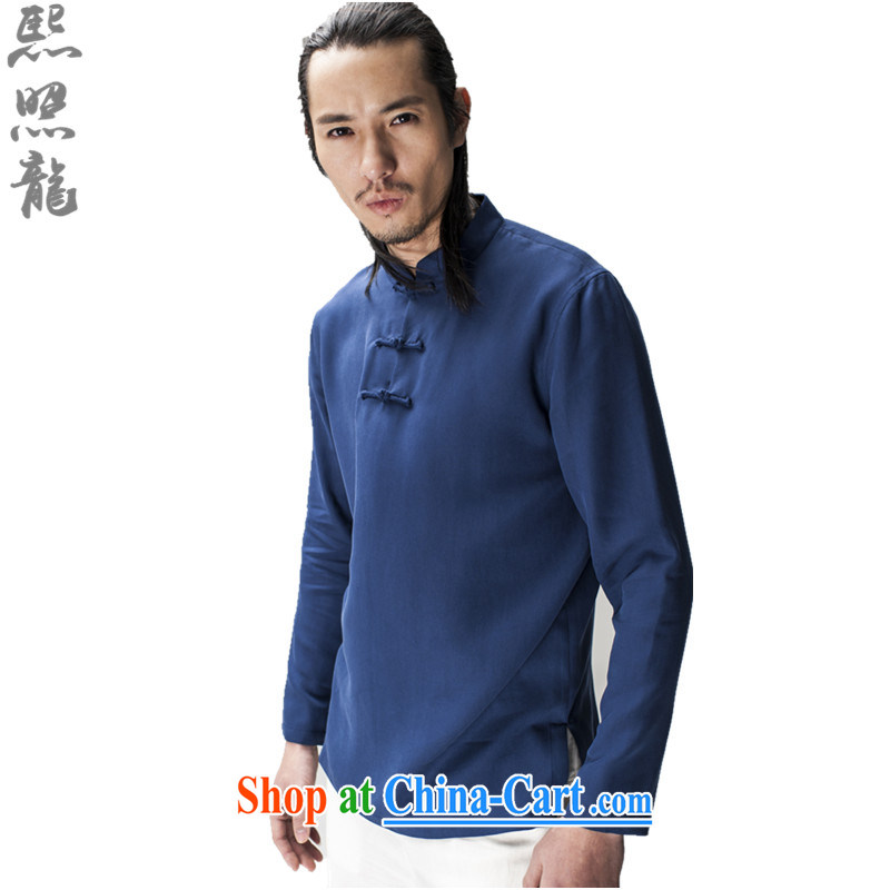 Hee-snapshot Dragon original spring and summer new male Chinese long-sleeved men Tang package stands for breathable casual shirts solid dark blue XL