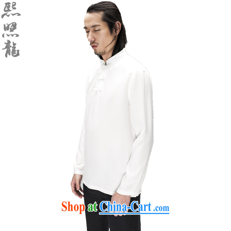 Mr Chau Tak-hay snapshot Dragon original spring and summer new male Chinese long-sleeved men Tang package stands for breathable casual shirts solid dark blue XL, Hee-snapshot lung (XZAOLONG), online shopping