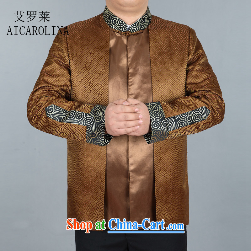 The spring, new men's Chinese long-sleeved T-shirt Chinese wind men's jackets Chinese T-shirt gold XXXL