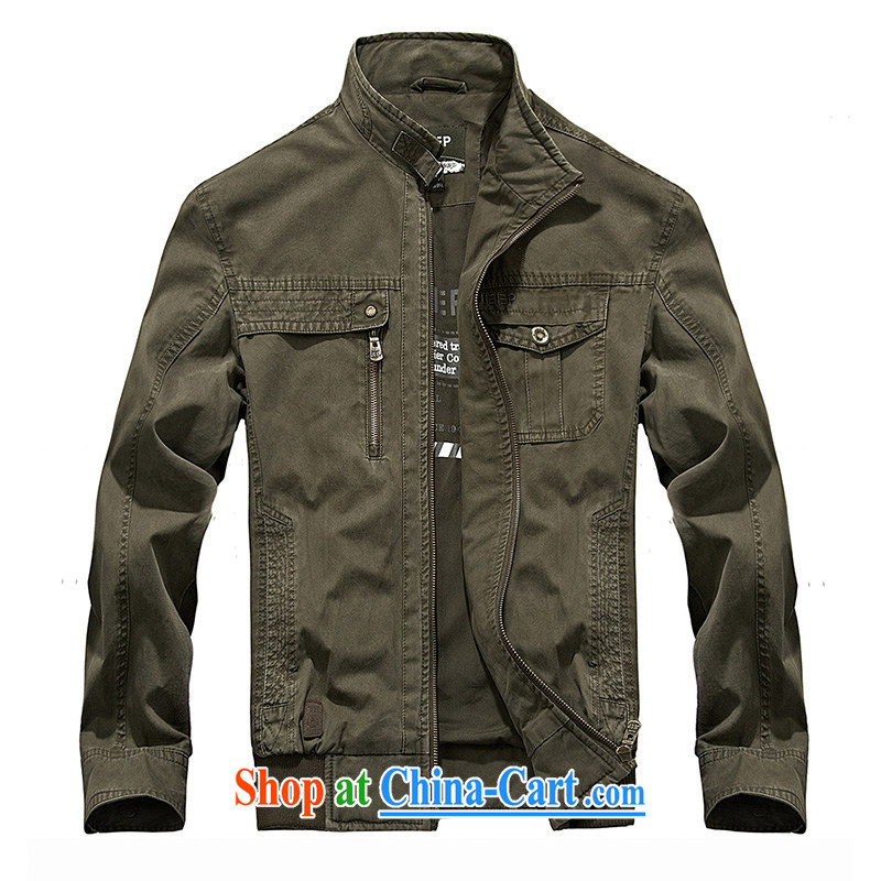 Jeep shield spring men's cotton washable comfortable thin smock jacket Solid Color 1208 army green 4 XL