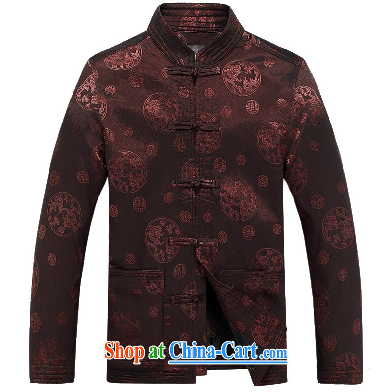 and mobile phone line 15 spring new and old men long-sleeved Tang jackets jacket Chinese, for the Kowloon Tong on the T-shirt F 8025 brown XXXL/190