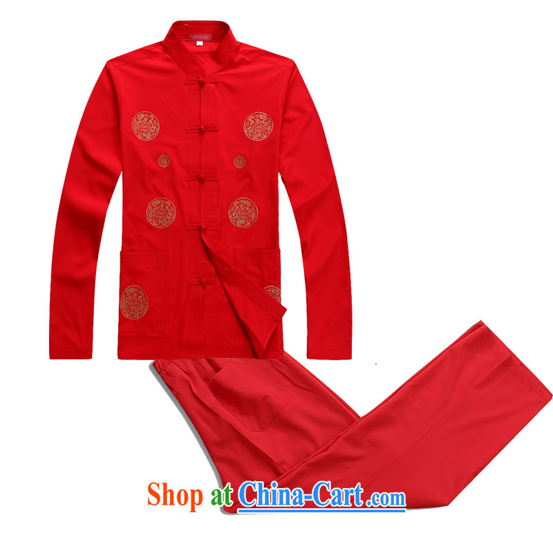 2015 spring and summer new, older men thin long-sleeved Chinese Kit home kit Tai Chi clothing China wind men's long-sleeved Chinese father red XXXL_190