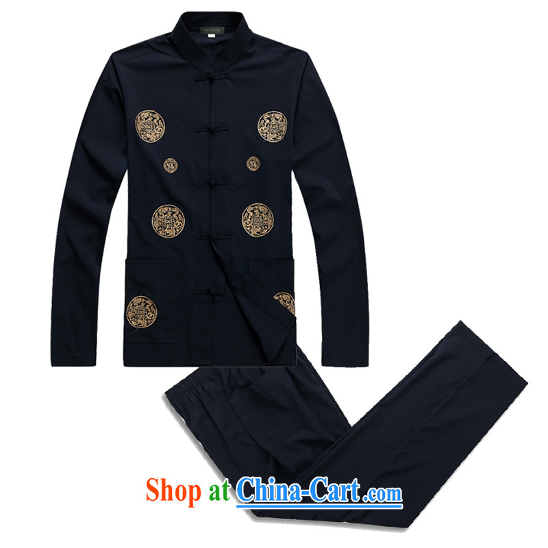 2015 spring and summer new, older men's thin long-sleeved Tang replace Kit home kit Tai Chi clothing China wind men's long-sleeved Chinese father red XXXL/190, and mobile phone line (gesaxing), and, on-line shopping