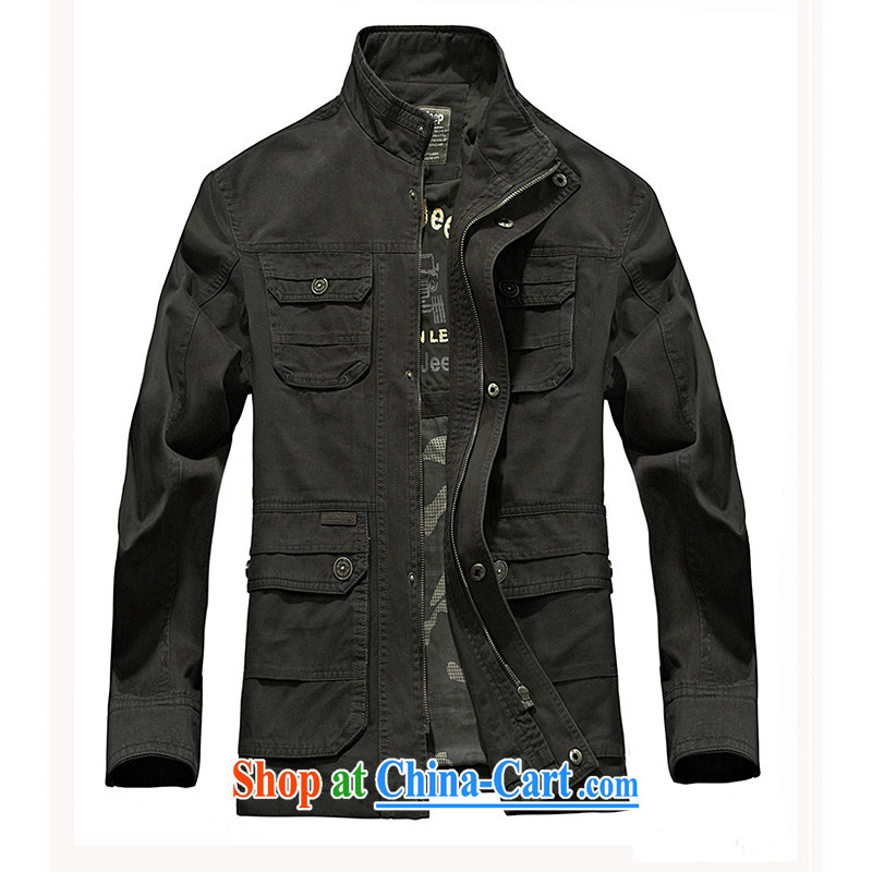 Jeep shield spring men's thin, collar jacket smock comfortable washable cotton jacket 1236 black XXXL