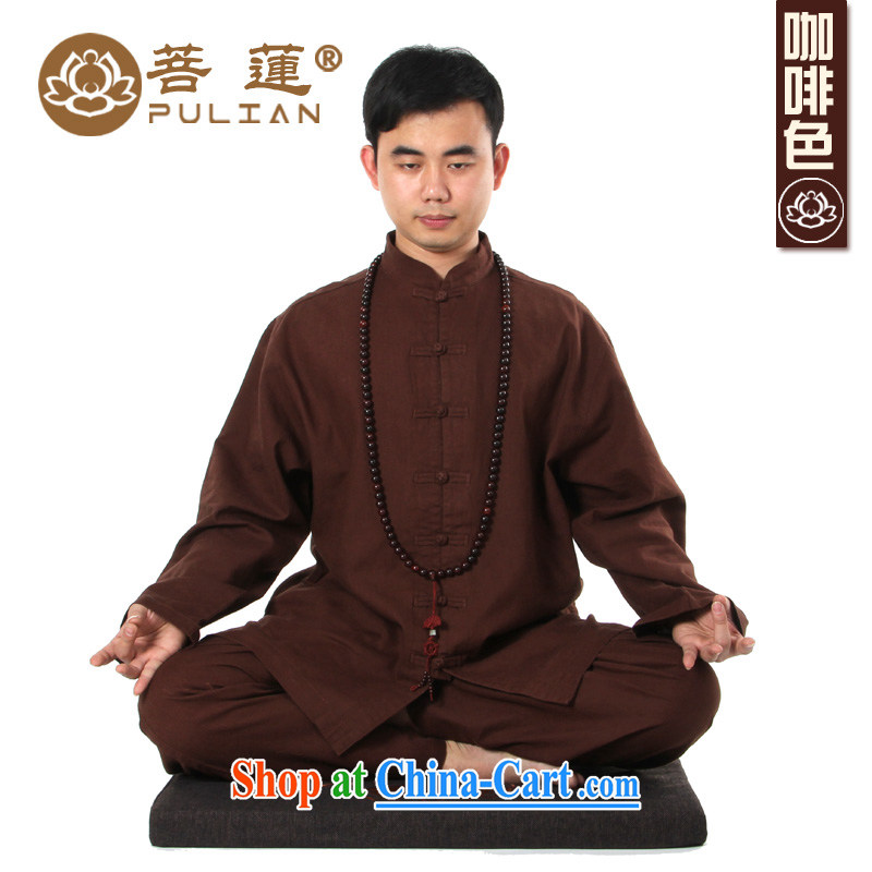 Restrictive Lin linen cotton mA with both men and women, winter China wind meditation Nepal clothing_yoga clothing Tai Chi clothing meditation brown XXL