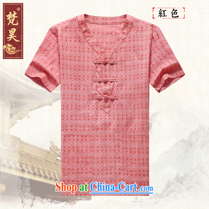 Van Gogh's annual men's new Chinese elderly in linen short-sleeve T-shirt DM 561 red 2 XL, Van Gogh's annual, and shopping on the Internet