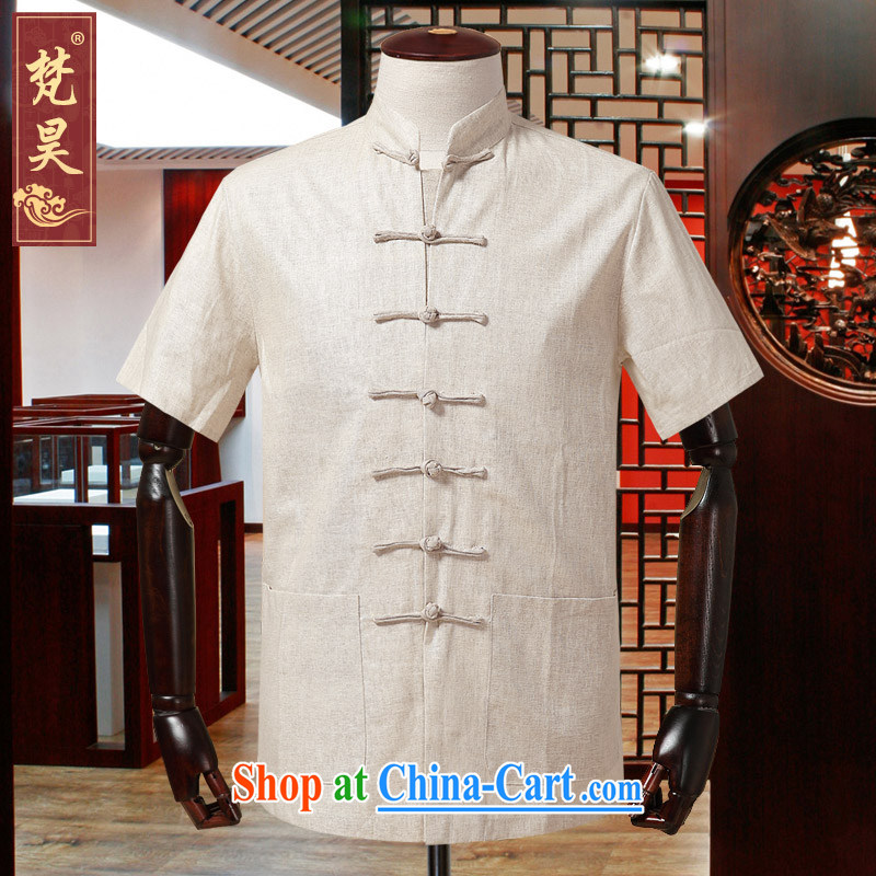 Van Gogh's new men's Chinese short-sleeved summer China wind linen shirt half sleeve, served the older DM 560 m yellow 4 XL