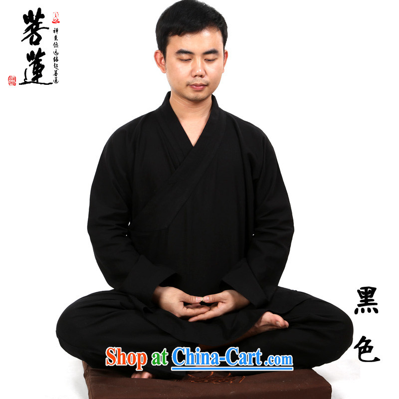 Bodhi-lin linen Cotton/men and women, China wind Han-improved cotton Ma meditation Nepal practicing Tai Chi martial arts yoga black XL