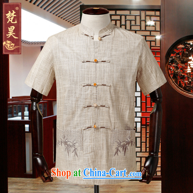 Van Gogh's annual new linen Chinese men and a short-sleeved Chinese-tie shirt cotton the half sleeve older summer DM 585m yellow 2 XL
