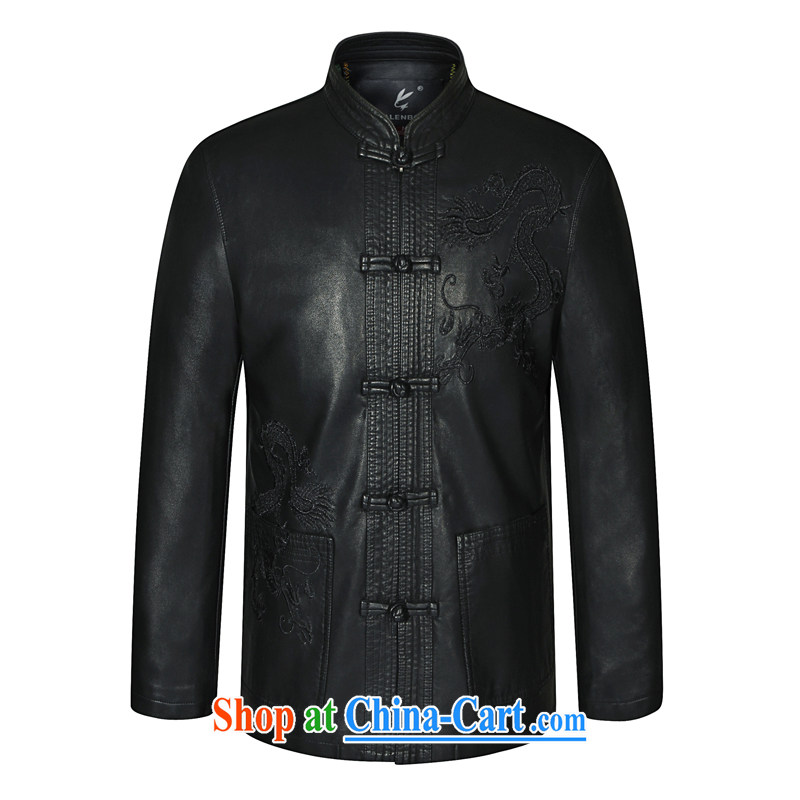 Ho information, older men and leather leather jacket Chinese jacket Chinese jacket fur Dad installed China wind jacket HGZ 8090 black 185