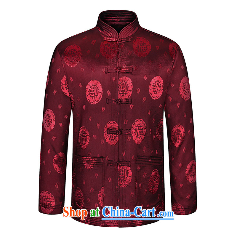Ho information spring men's Chinese long-sleeved, older Chinese elderly people Tang jackets China wind HGZ 05 red wine 190